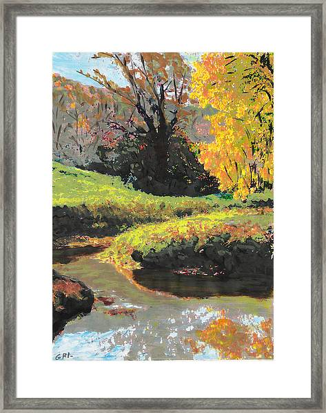 Framed Print featuring the painting Quiet Stream Maryland Landscape Fall Colors Sketch by G Linsenmayer