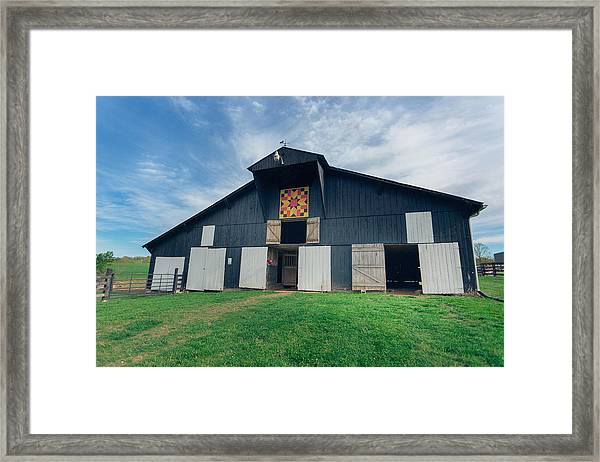 Quilted Barn Framed Print