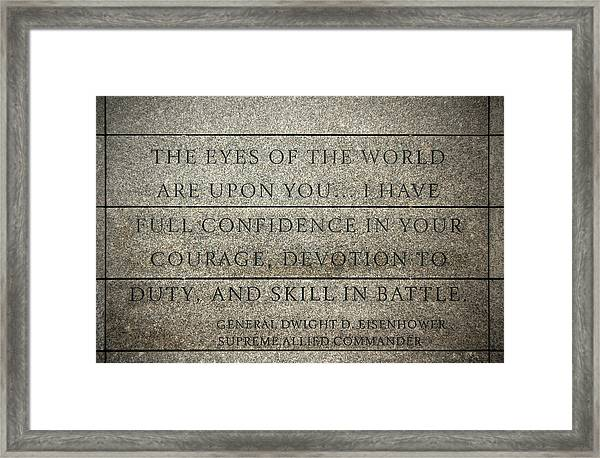 Quote Of Eisenhower In Normandy American Cemetery And Memorial Framed Print