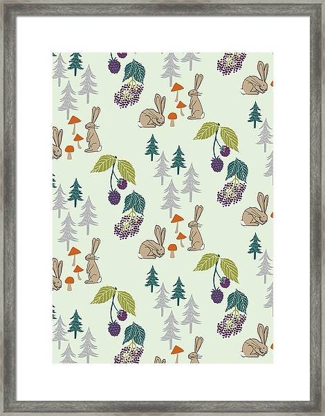Rabbits Foraging In The Forest Vector Coordinate Pattern.jpg Framed Print
