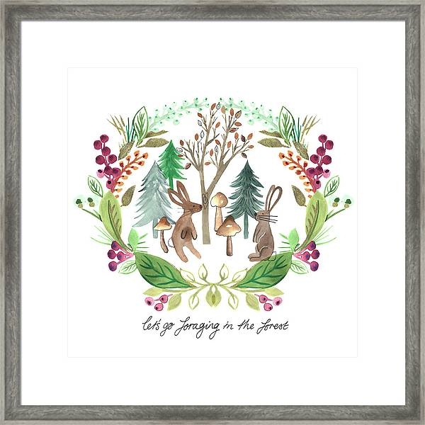 Rabbits Foraging In The Forest Watercolour Placement With Laurel Wreath Surround.jpg Framed Print