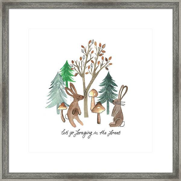 Rabbits Foraging In The Forest Watercolour Placement.jpg Framed Print
