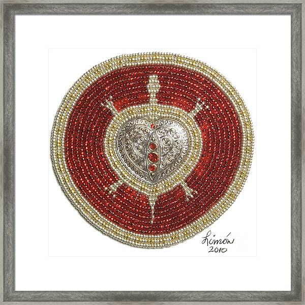 Silver And Gold Heart Turtle Framed Print