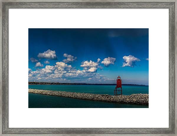 Racine Harbor Lighthouse Framed Print