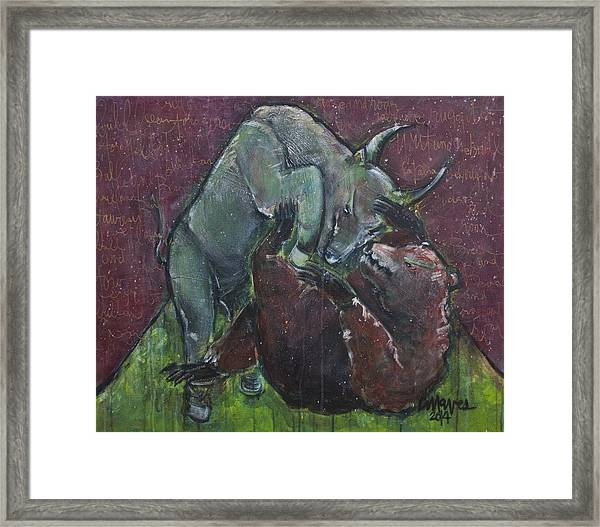 Framed Print featuring the painting Rage And Roar by Laurie Maves ART