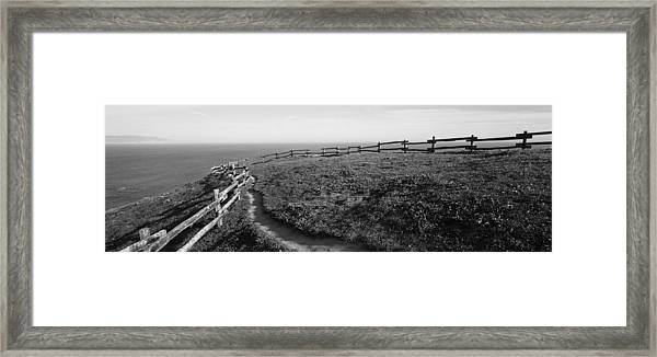 Rail Fence At The Coast, Point Reyes Framed Print