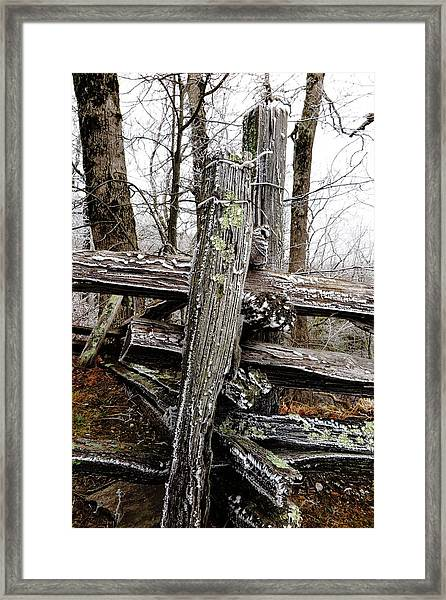 Rail Fence With Ice Framed Print