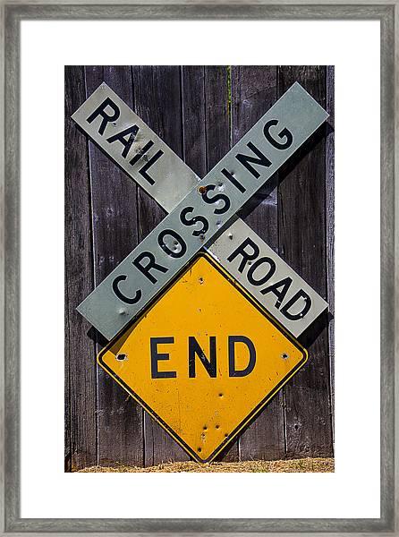 Rail Road Crossing End Sign Framed Print