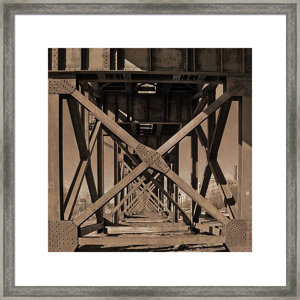 Railroad Trestle Sepia Framed Print