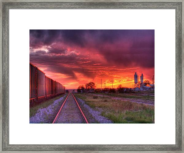 Rails To A Red Sunset Framed Print
