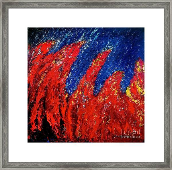 Rain On Fire Framed Print