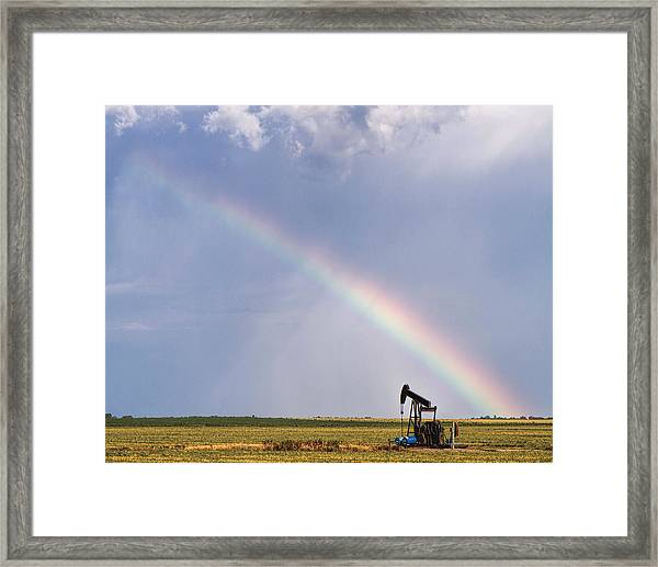 Rainbow And Oil Pump Framed Print