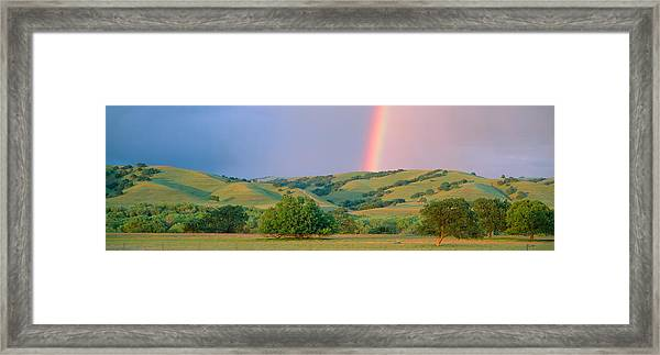 Rainbow And Rolling Hills In Central Framed Print