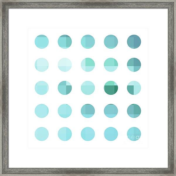 Rainbow Dots Aqua  Framed Print