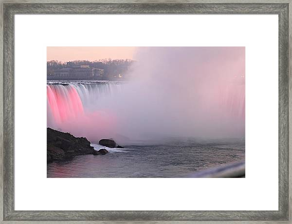 Rainbow Falls Lit At Night Framed Print