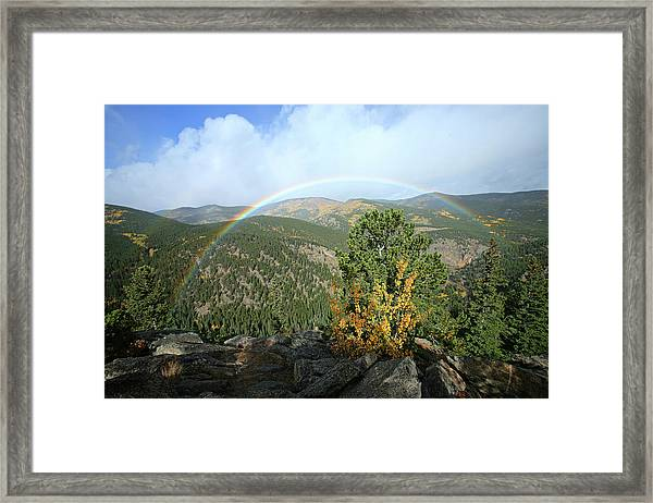 Rainbow In Mountains Framed Print
