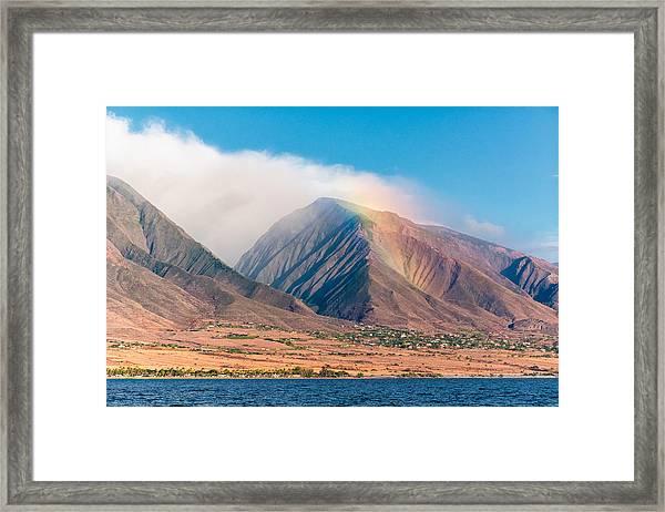 Rainbow Over Maui Mountains   Framed Print