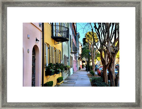 Rainbow Row Hdr Framed Print