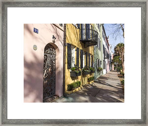 Rainbow Row Framed Print