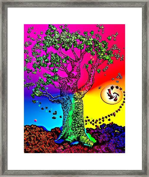 Rainbow Sky Tree Framed Print