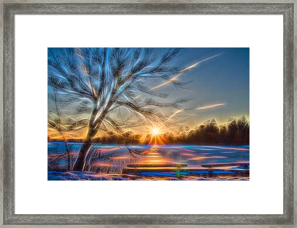 Framed Print featuring the photograph Rainbow Sunset On Snow Covered Lake by Beth Sawickie