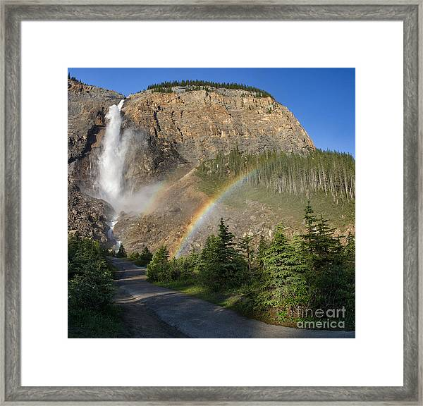 Rainbows At Takkakaw Falls Framed Print