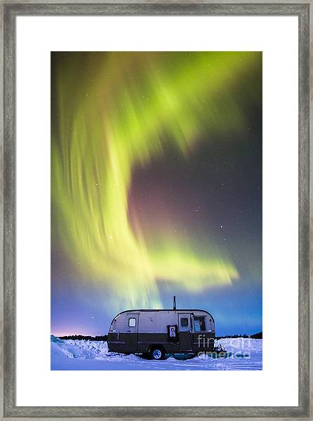 Raining Lights On Rainy Lake Framed Print