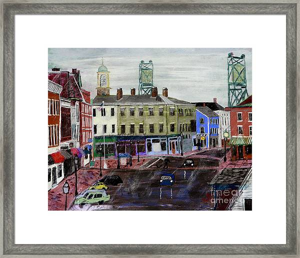 Rainy Day At Market Square Framed Print