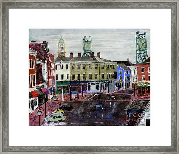 Rainy Day On Market Square Framed Print
