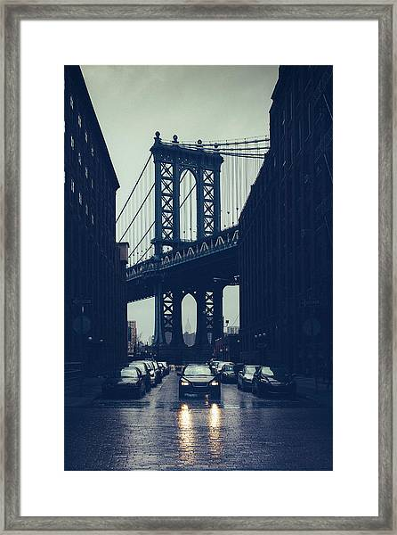 Rainy New York City Framed Print by Ferrantraite
