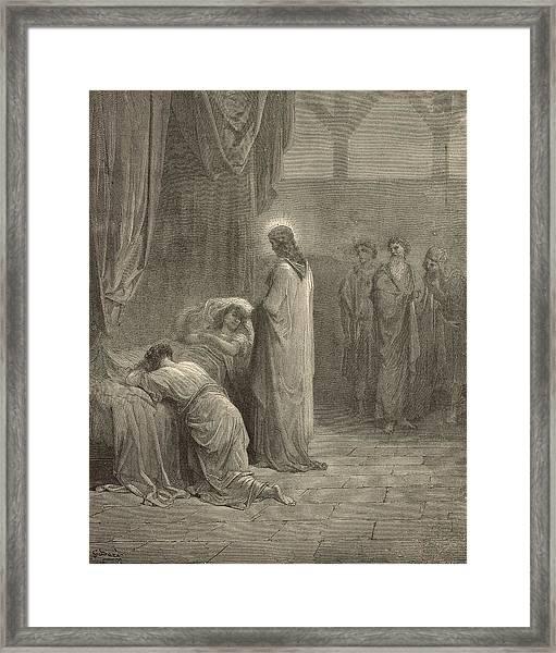 Raising The Daughter Of Jairus Framed Print