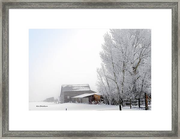 Ranch In Frozen Fog Framed Print
