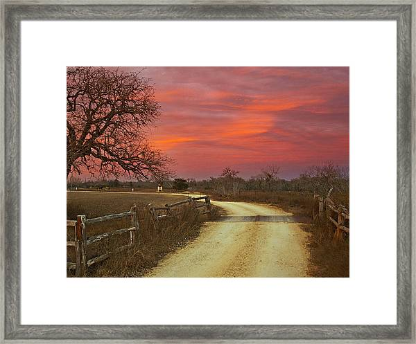 Ranch Under A Blazing Sky Framed Print
