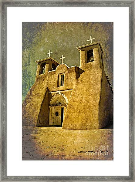 Ranchos Church In Old Gold Framed Print
