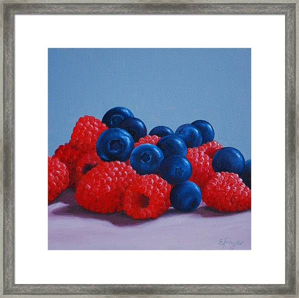 Raspberries And Blueberries Framed Print