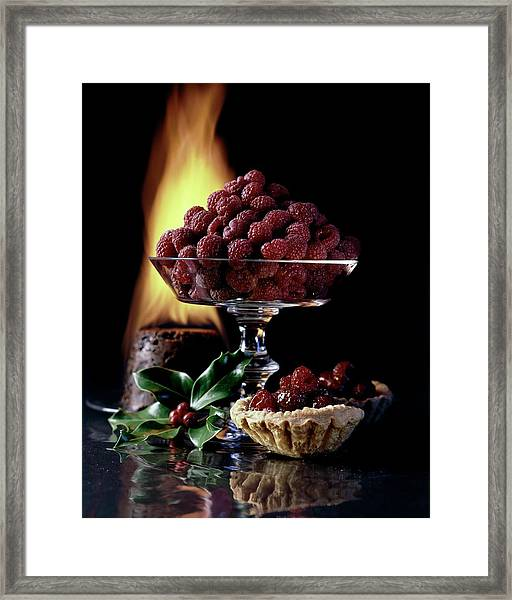 Raspberries In A Glass Serving Dish With Tarts Framed Print