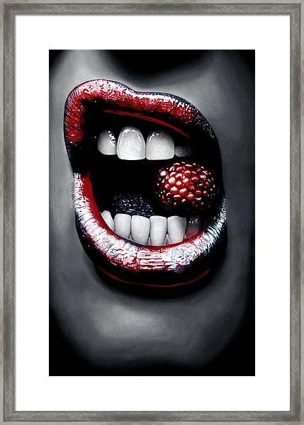 Raspberry Framed Print by Kalie Hoodhood