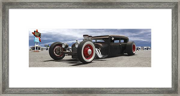 Rat Rod On Route 66 Panoramic Framed Print
