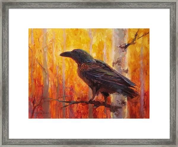 Raven Glow Autumn Forest Of Golden Leaves Framed Print