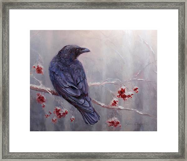 Raven In The Stillness - Black Bird Or Crow Resting In Winter Forest Framed Print