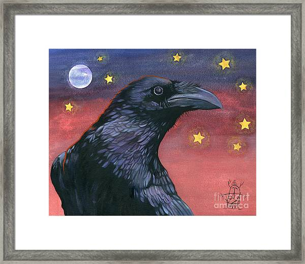 Raven Steals The Moon - Moon What Moon? Framed Print