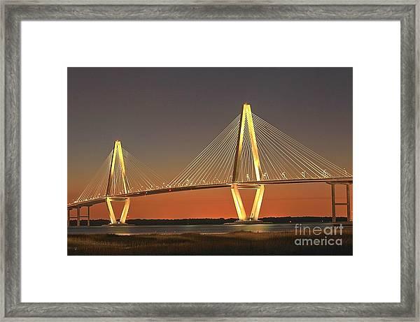 Ravenel Bridge At Dusk Framed Print
