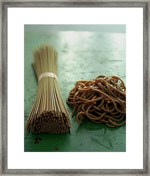 Raw And Cooked Pasta Framed Print