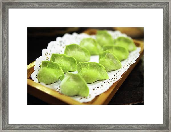 Raw Green Dumplings For Hot Pot Framed Print