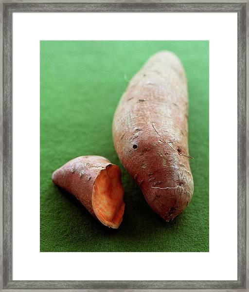 Raw Sweet Potatoes Framed Print