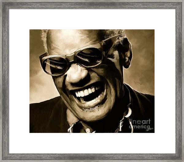 Ray Charles - Portrait Framed Print