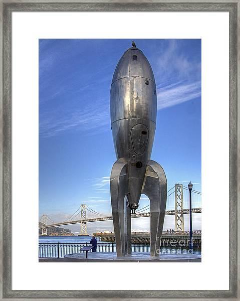 Raygun Gothic Rocketship Framed Print