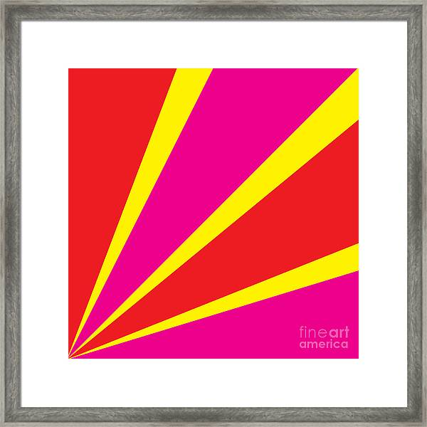 Rays Of Color Pink And Red Framed Print