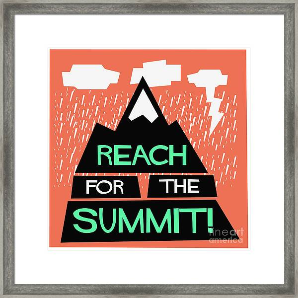 Reach For The Summit Flat Style Vector Framed Print