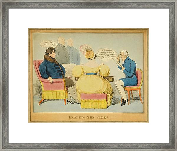 'reading The Times' William Iv Framed Print by Mary Evans Picture Library